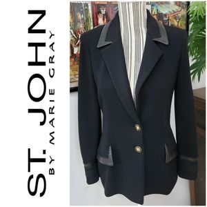 St John sz 2 Black w/ Leather trim Blazer Coat